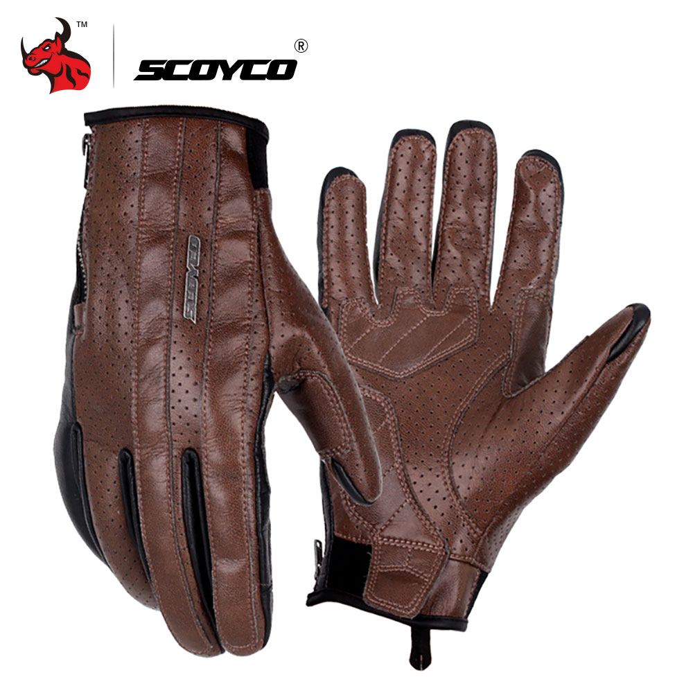 SCOYCO Retro Motorcycle Gloves Microfiber Leather Riding Touch Screen Gloves Men Summer Motocross Gloves Moto Protective Gear
