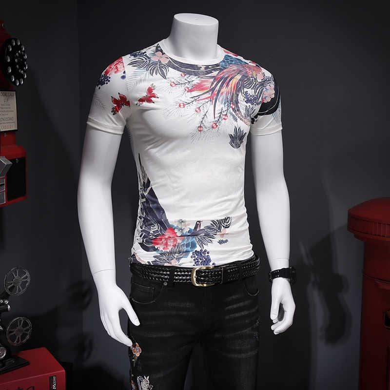 夏の 2019 快適なテンセルアイコン中空アウト通気性印刷半袖メンズ Tシャツ C5614-P45