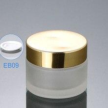 300 шт./лот 50 г(50 мл) матовая стеклянная банка для крема, стеклянная бутылка с золотыми крышками, косметический контейнер, косметическая упаковка