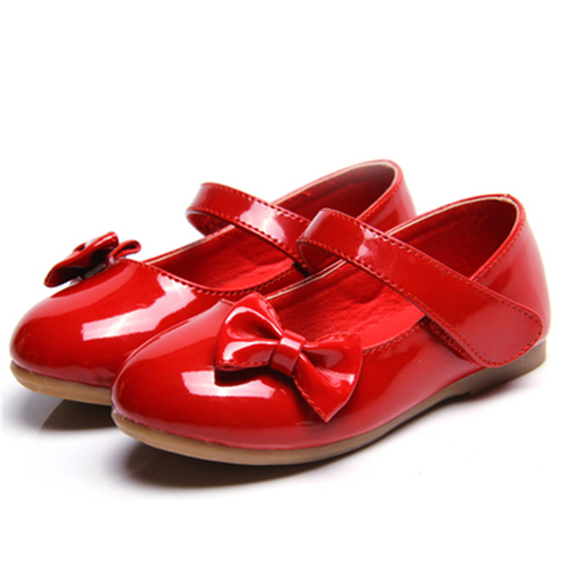 2018 Spring Autumn model flat girl leather shoes Princess student performance dance shoes bow wild fashion children single shoes