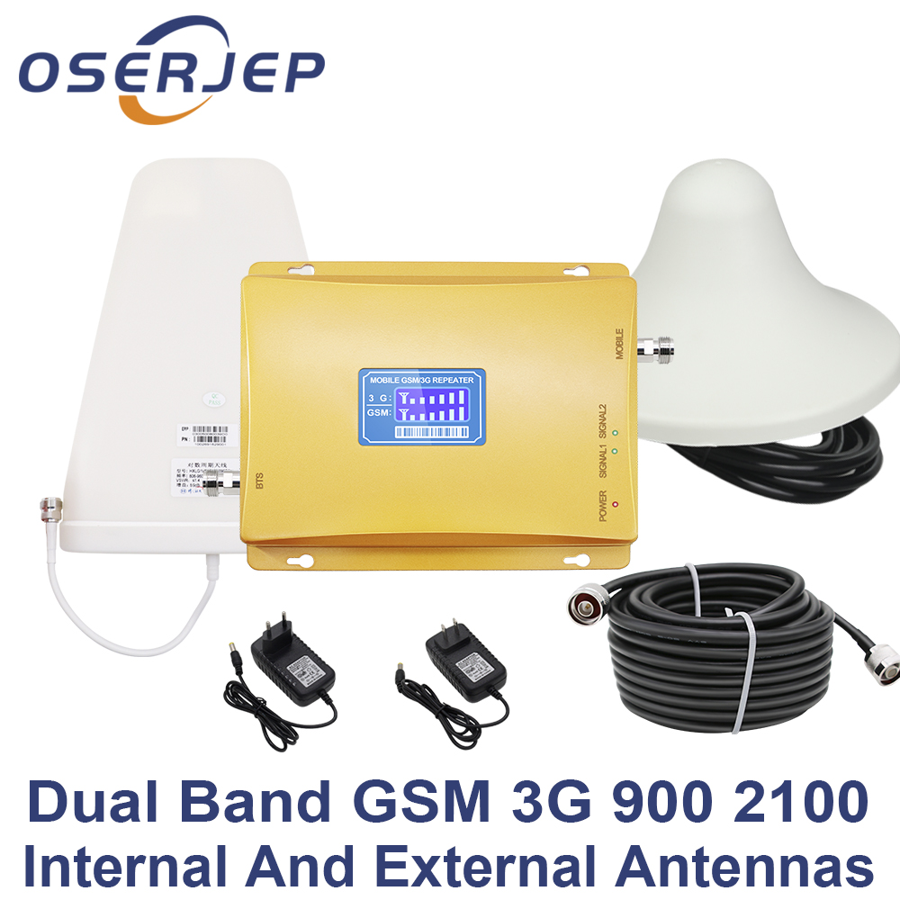 70dB LCD Display GSM 900 3G 2100 mhz Dual Band Repeater UMTS Cell Phone Amplifier WCDMA