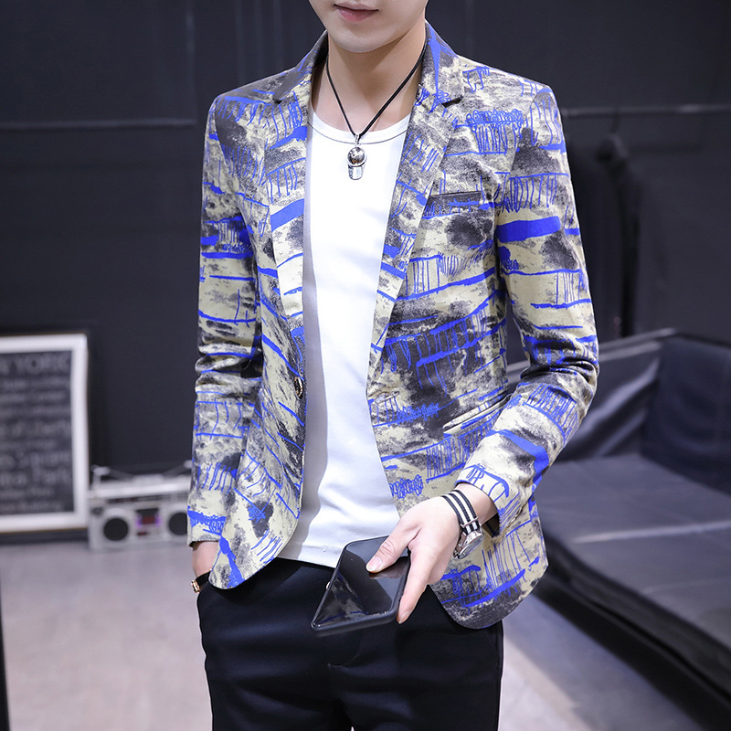 BO 2020 New Men's Self-cultivation Printing Suits Youth Leisure BLAZER