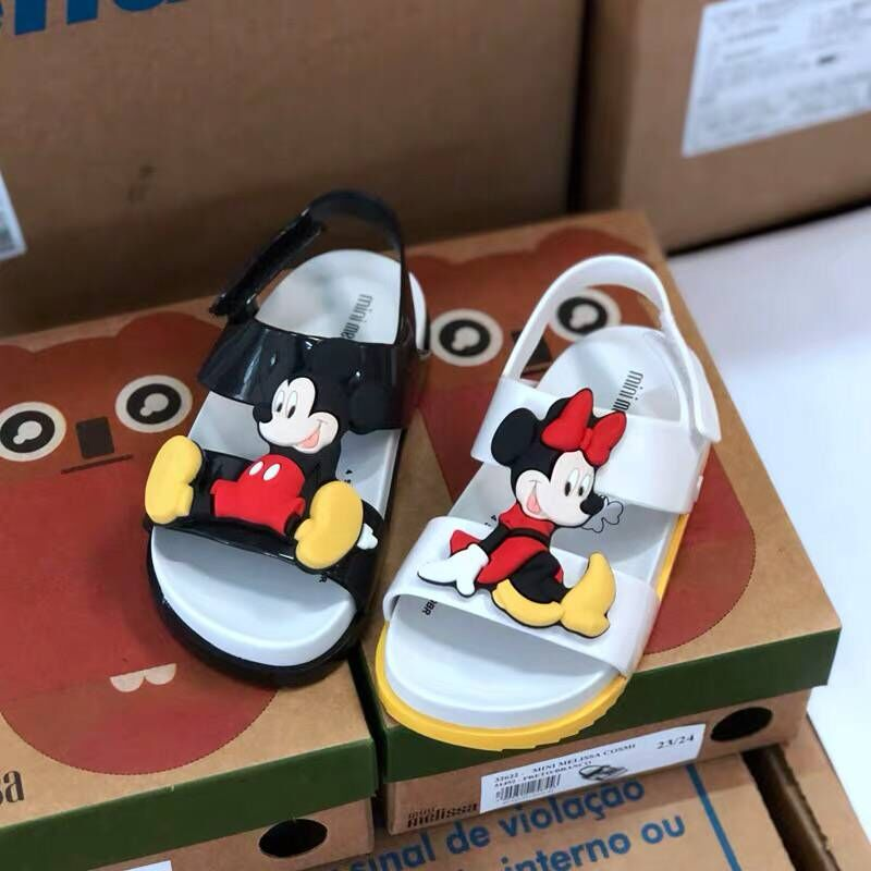 Girls Mouse Sandals 2019 Children Garden Shoes Jelly Beach Shoes For Kids High Quality Leather Toddler Babies Summer Slippers