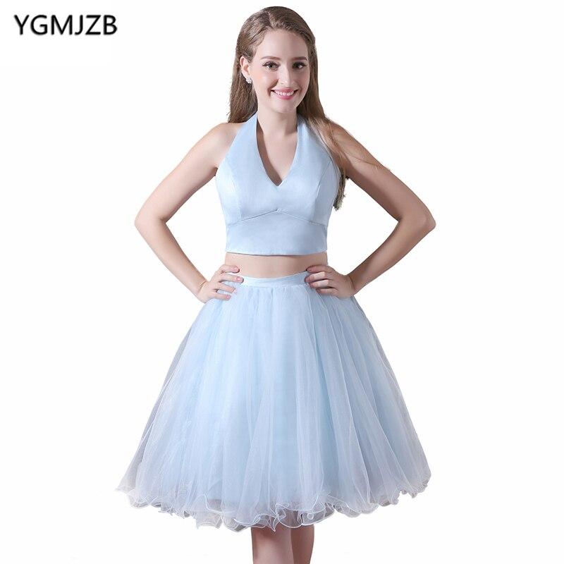 Cheap Short   Cocktail     Dresses   2019 A Line Halter Short Party   Dress   Two Piece Prom   Dresses   Simple Mini Robe De Soiree Courte