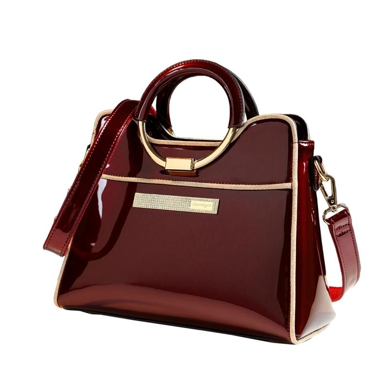 New luxury high quality designer handbag women leather shoulder bag bride wedding bag ladies boston messenger bag patent leather