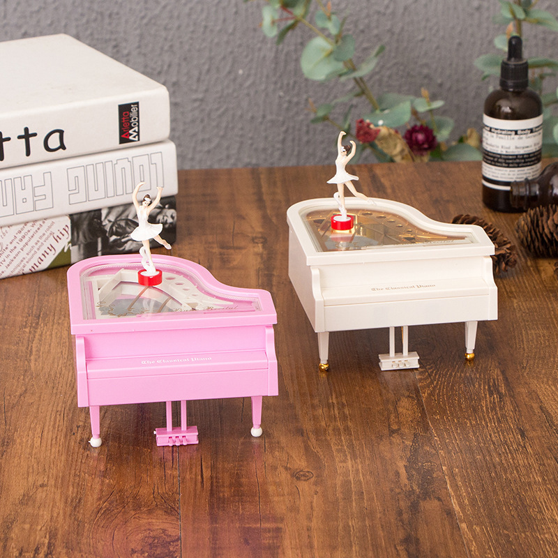 Cute Ballet Dancing Girl Piano Music Box White Pink Rotating Music Box Gift Girl Birthday Gift Game of thrones music box CL01042
