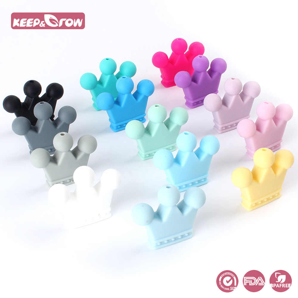 Keep&Grow 10pcs Crown Silicone Beads Baby Teething Toys Food Grade Silicone DIY Pacifier Chain Pendant Accessories Baby teethers