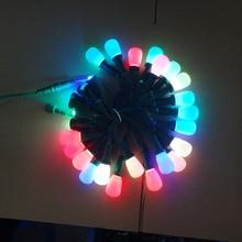 50 узлов адресуемых RGB S14 DC12V WS2811 Светодиодный Рождественский пиксельный струнный светильник; 6 дюймов(15 см) Расстояние между проводами; Зеленая проволока; IP68