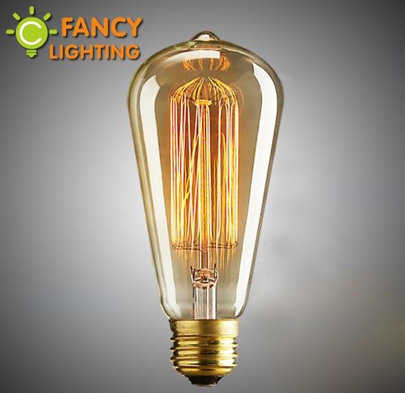 Retro lamp st64 vintage edison bulb e27 incandescent bulb 110v 220v holiday  lights 40w 60w filament