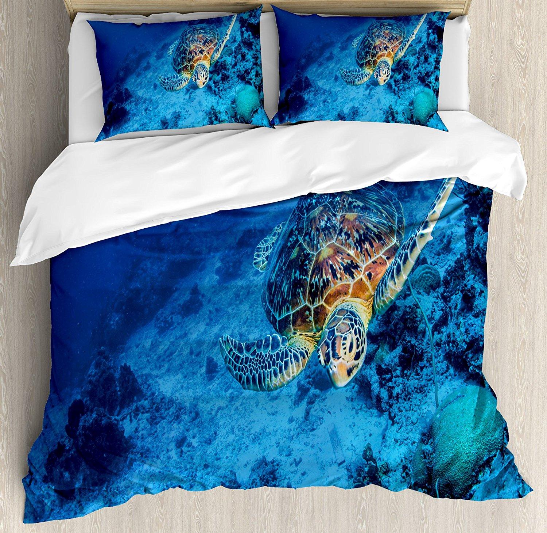 Ensemble housse de couette tortue océanique thème de la faune Photo de tortue de mer dans les eaux bleues profondes récif de corail hawaïen, ensemble de literie 4 pièces