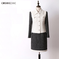 Cosmicchic Women 2 Piece Set Long Sleeve Tweed Suit Black And White Plaid Coat With Pocket