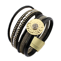 Multilayer PU Leather Bracelets for Women Jewelry 2017 Magnetic Rhineston Pulseira Feminina Fashion Cuff Bracelets & Bangles