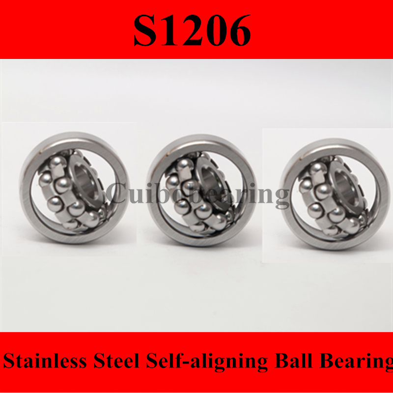 stainless steel bearings 1206 Stainless steel self-aligning ball bearings S1206 Size 30*62*16 mochu 23134 23134ca 23134ca w33 170x280x88 3003734 3053734hk spherical roller bearings self aligning cylindrical bore
