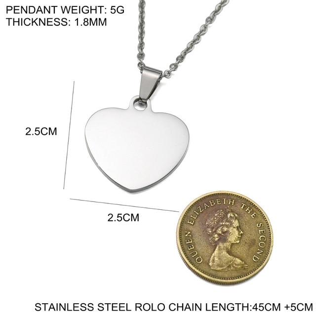 Ouro rosa tom personalizado de aço inoxidável gravado nome foto bonito coração em branco cão tag charme pingente colar