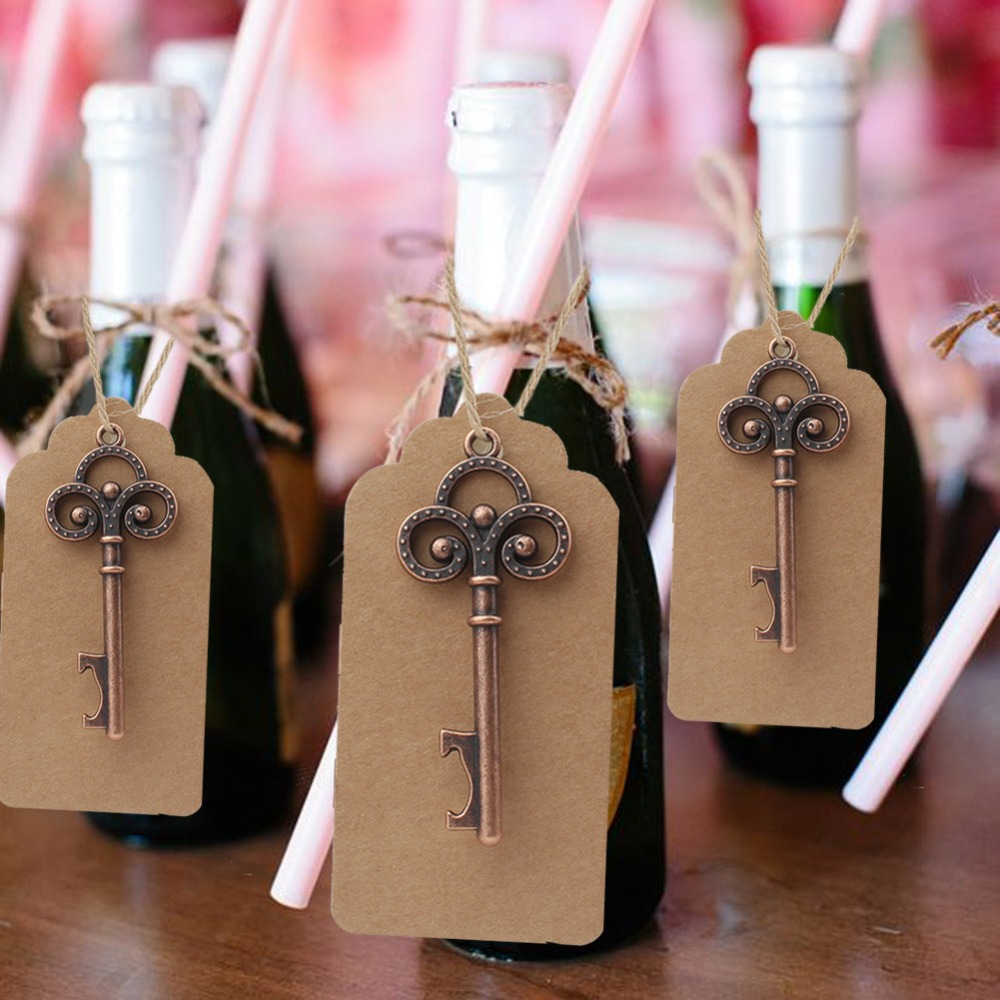 OurWarm 100 Set Wedding Gifts for Guests Wedding Souvenir Gift Party Favors Skeleton Bottle Opener Tags