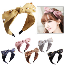 Candygirl 6 Solid Colors Bow Knotted Hair Band with Pearls Perfect Quality Cotton Headbands Hairbands for Women Girls Headwears