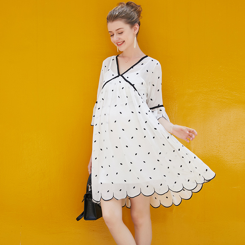 Europe New 2018 Summer Pregnant Women Fashion Loose Sexy V Neck Flare Sleeve Printing Chiffon Dress Maternity Casual Loose Dress