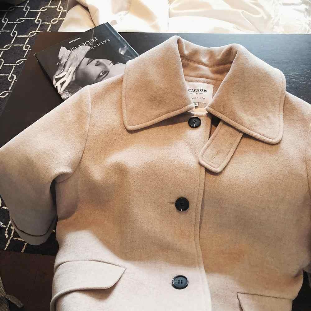 Mishow 2019 outono inverno casaco de lã causal feminino turndown colarinho single-breasted com cinto grosso casaco mx18d9657