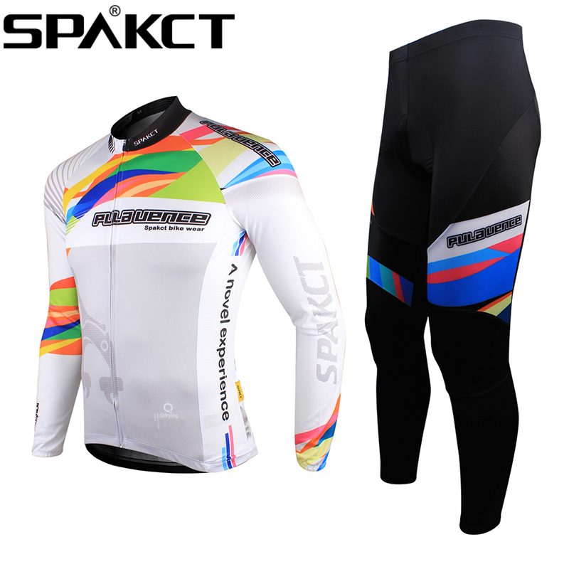 Hot Sale ! Spakct Bike Men'sOutdoor Mountain Bike Bicycle Cycling Suits Long Sleeve Long Jersey & Tights Pants-Provence hot sale cayler