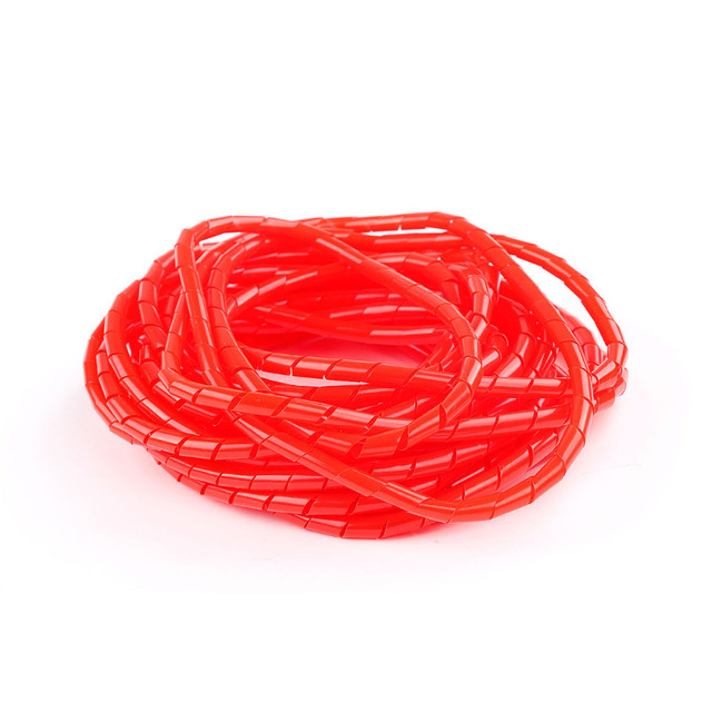 10M Red 4 50mm Spiral Cable Wire Tidy Wrap PC Home Cinema TV ...