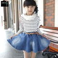 Girls Denim Skirts Mini Kids Pettiskirt for Baby Cute Princess Ruffle Jeans Party Lovely Petticoat with Belt Children Clothing