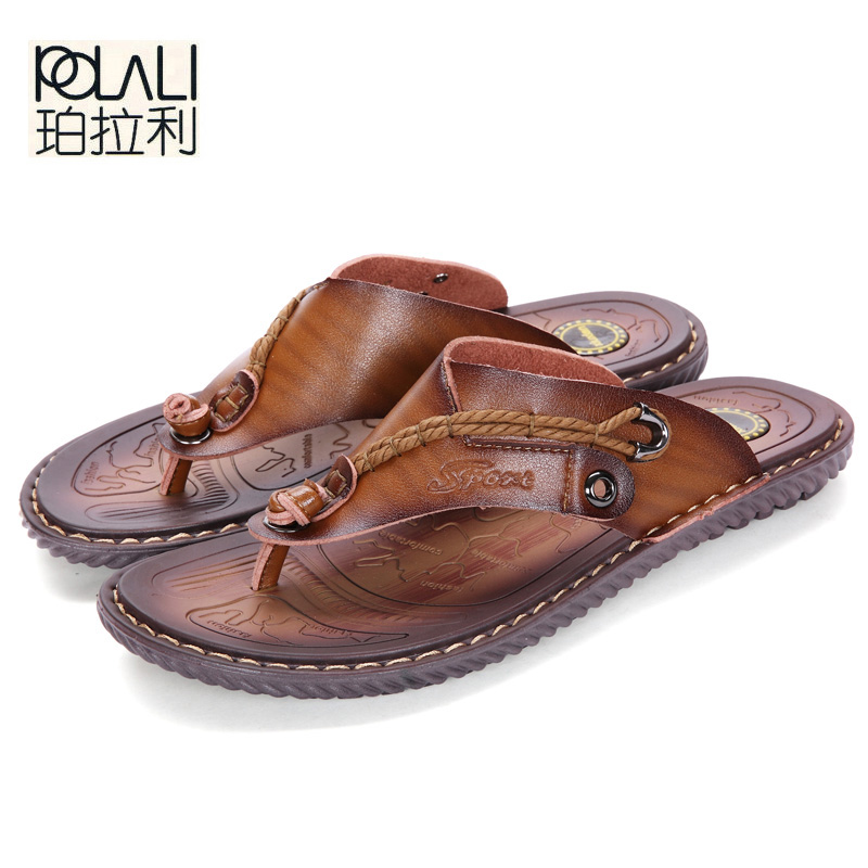 POLALI Luxury Brand Flip Flops Soft comfortable Microfiber Leather Slippers Beach Slipper Flip Flop Summer Shoe For Men size 47(China)