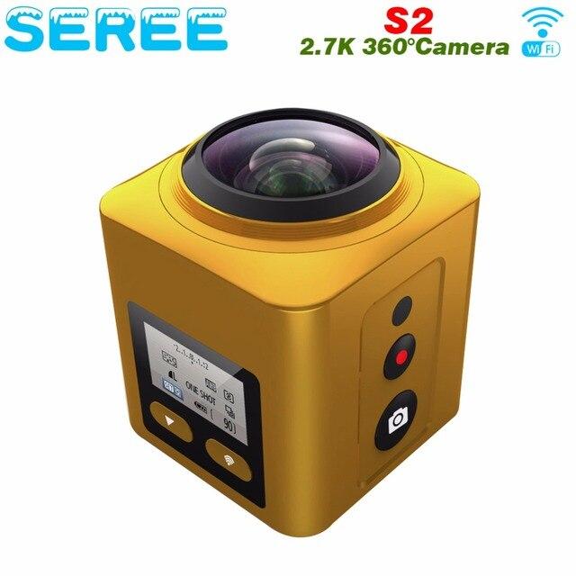 Seree 2017 Latest 360 Video Camera Mini Panorama VR Camera 4K Wifi Waterproof Sports Camera 30m Diving Actoin Camera