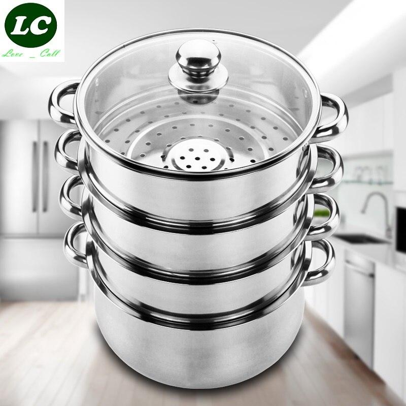 ΞEnvío libre cocina olla vaporera 4 capa 28 cm inox cocina de acero ...