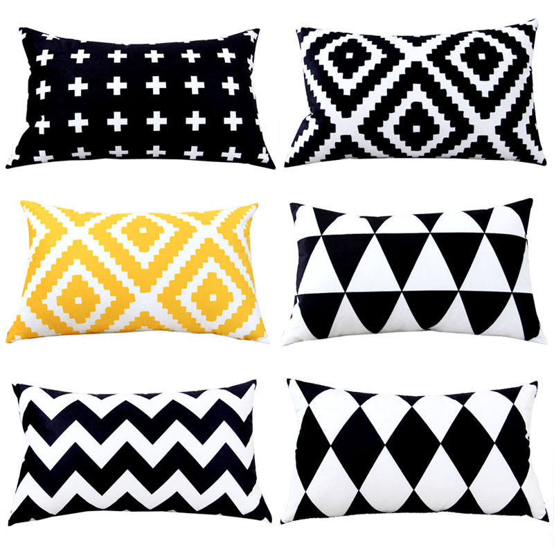 Colorful Geometry Black Cushion Cover Geometric Printed Pillowcases Linen Yellow Pillow Covers Sofa 30-50cm Cushion Cover
