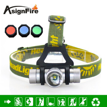 Headlamp 1000 Lumens 4 Color CREE Q5 LED Headlight Zoom LED Head Light With Green / Red / Blue Diffuser Cabeza Lampara
