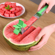 New Kitchen windmill Watermelon Slicer Cutter Tongs Corer Fruit Melon Stainless Steel Cut Refreshing Cubes