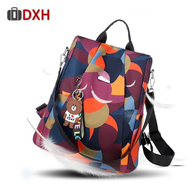 2019 Womens Anti-Theft Backpack Waterproof wearable Color Shoulder Bag Bear Pendant Student Ladies Fashion Travel Backpack2019 Womens Anti-Theft Backpack Waterproof wearable Color Shoulder Bag Bear Pendant Student Ladies Fashion Travel Backpack