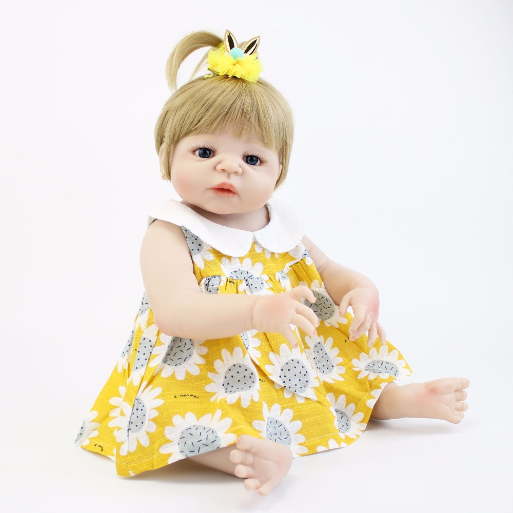 55cm Full Silicone Body Reborn Baby Doll Toy Vinyl Newborn Princess Toddler Babies Girl Bonecas Alive Bebe Child Kids Bathe Toy