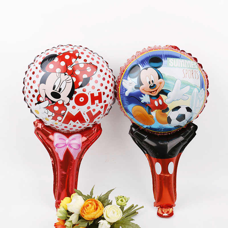 10pcs Cartoon Mickey minnie mouse globos party supplies lovely birthday Party foil balloons hand hold stick inflatable toys gift