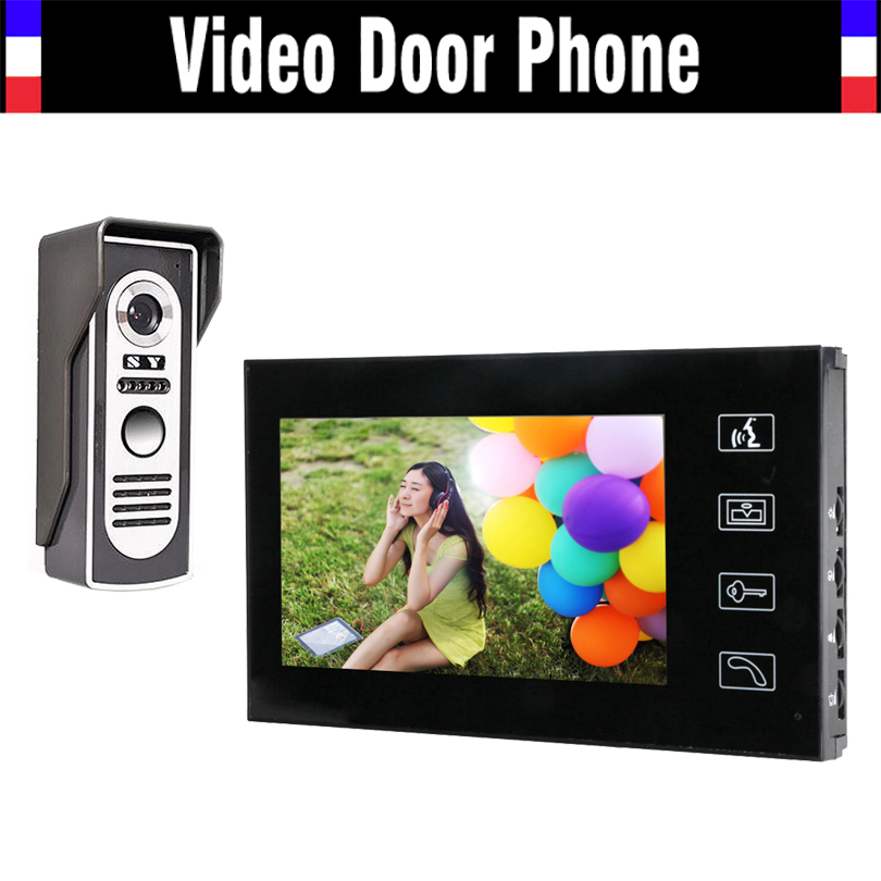 7 LCD Monitor Video Door Phone Intercom Doorbell System Kit Home Security intercom IR Door Camera Video Doorphone jeatone 7 lcd monitor wired video intercom doorbell 1 camera 2 monitors video door phone bell kit for home security system