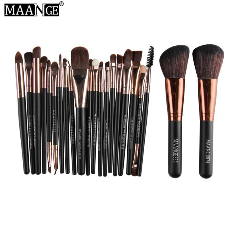 MAANGE 22 Pcs Pro Makeup Brush Set Powder Foundation Eyeshadow Eyeliner Lip Cosmetic Brush Kit Beauty Tools Maquiagem D2 free shipping 3 pp eyeliner liquid empty pipe pointed thin liquid eyeliner colour makeup tools lfrosted purple