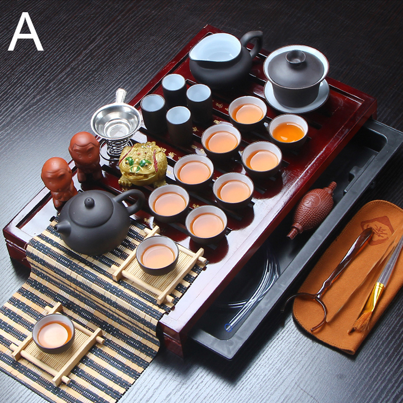 32 Piece Ceramic Purple Clay Tea Set Kung Fu Pot Infuser Solid Wood Tea Tray Teapot