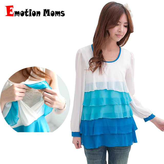 Emotion Moms Maternity Clothes Chiffon Maternity tops nursing Top for Pregnant Women Breastfeeding pregnant clothing
