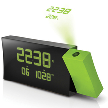 LCD Projection radio Alarm Clock Display Weekday Temperature green backlight European Time Watch Digital Electronic LUMINOVA