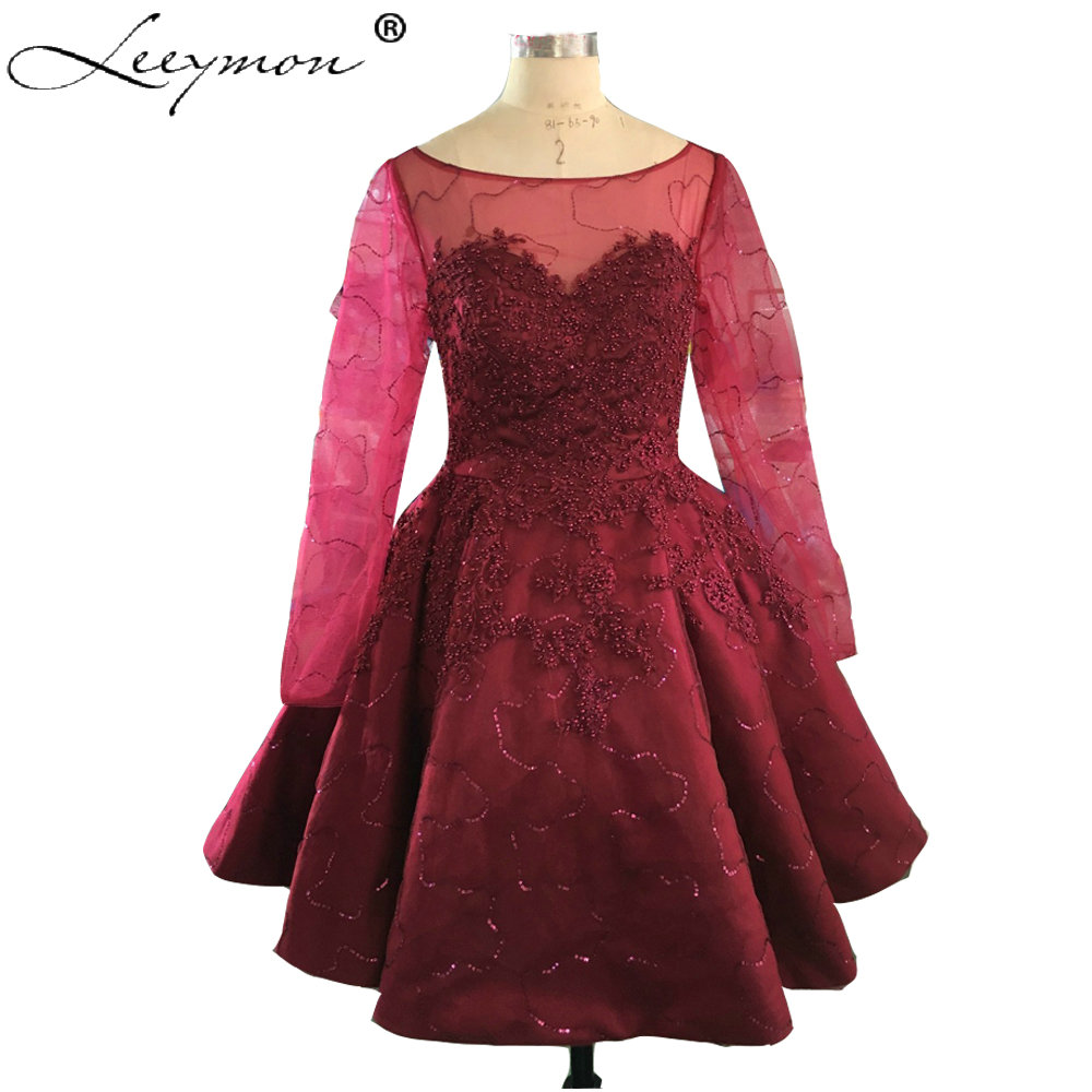 Real Samples 2019 Cute Cheap Pearl Red Short   Cocktail     Dresses   Sexy Lace Appliques Prom Gowns Mini Ball Gown vestidos New Fashion