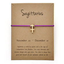 New 12 Constellation Zodiac Sagittarius Message Card Bracelet Jewelry Lucky Rope Bangles For Women