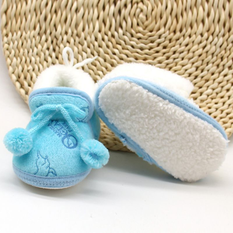 New 3Colors Sweet Newborn Baby Girls Princess Bowknot Winter Warm First Walkers Soft Soled Infant Toddler Kids Girl Cack Shoes