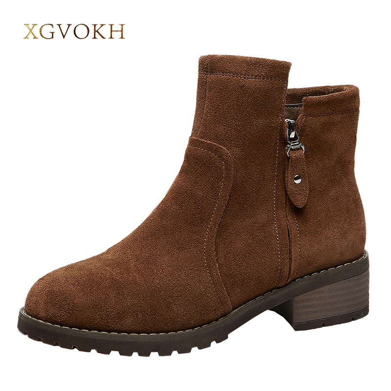 XGVOKH Women Ankle Boot Fashion Zip Genuine Leather Autumn Winter Keep Women's Warm Short Boots High Quality Black Brown Shoes цена и фото