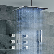 16Led  Shower Head  Thermostatic Shower mixer Set with 6pcs shower spa body jets