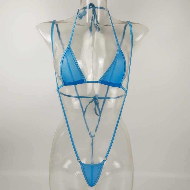 ผู้หญิงเซ็กซี่ร้อน Mini Micro บิกินี่โปร่งใสเล็กๆชุดว่ายน้ำชุดว่ายน้ำ Beachwear ชุดชั้นในเร้าอารมณ์ชุดชั้นในชุดนอน