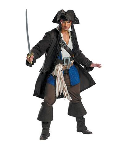 Pirates of the Caribbean Jack Sparrow Cosplay Costume Jacket Shirt Pant Costumes Set Mens Halloween Costumes clothing