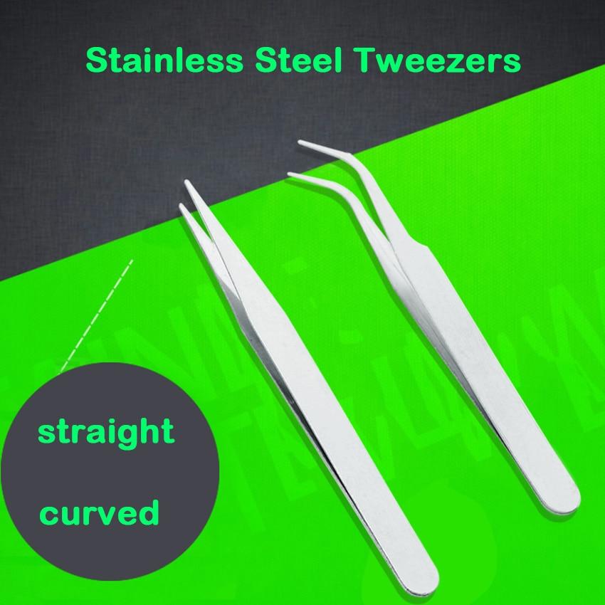 1PC Stainless Steel Industrial Anti-Acid Tweezers Straight Curved Forceps Watchmaker Repair Tools Nail Eyebrow Repairing Tweezer