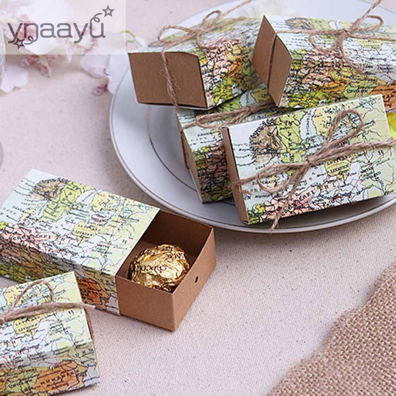 Ynaayu 5pcs/set Candy Boxes Creative Cake Box World Map Cookie Box Party Gift Favor Boxes For Wedding Birthday Party Decoratio image