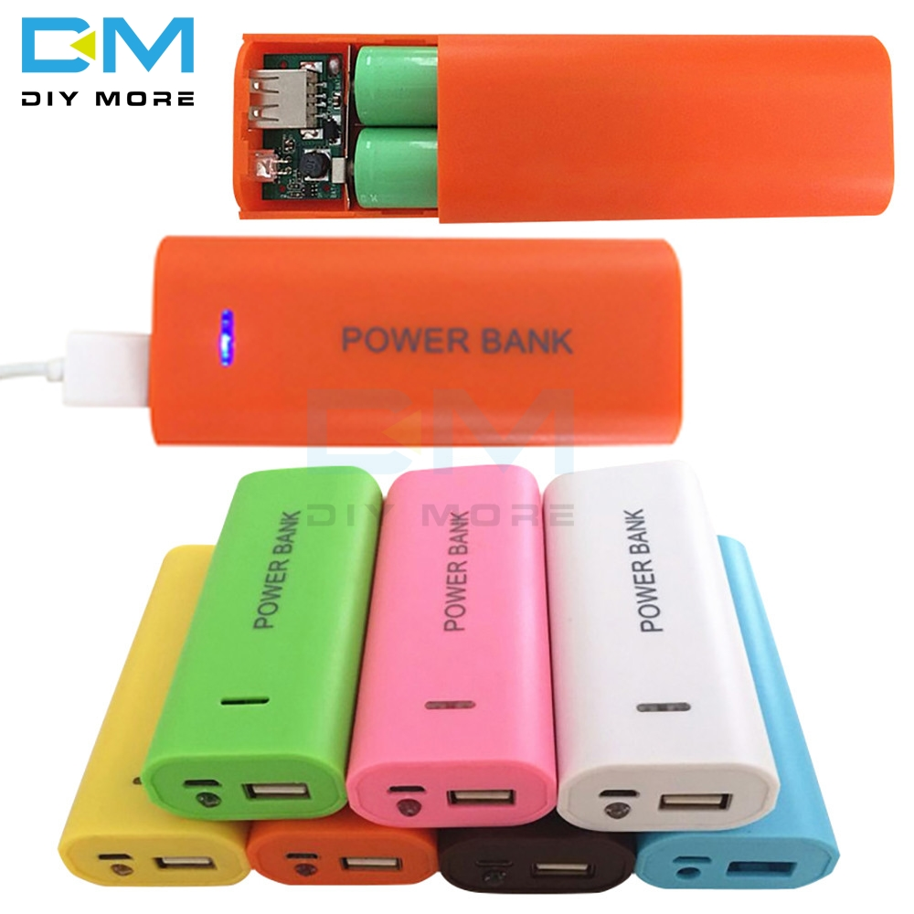 Candy Color Fashion 5600mAh 2X 18650 USB Power Bank Battery Charger Case DIY Box For Cell Phone For 18650 Li-battery DC 5V 1A