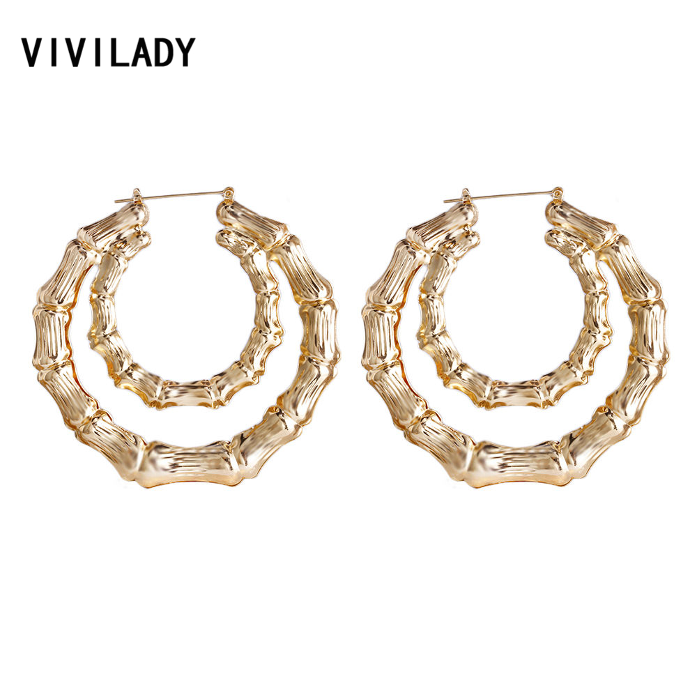 VIVILADY 2018 Punk Bamboo Round Circle Hoop Earrings Women Gold Color Basketball Wives Larger Brincos Boho Jewelry Party Gift